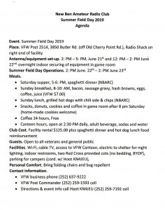 NBARC Summer ARRL Field Day Agenda